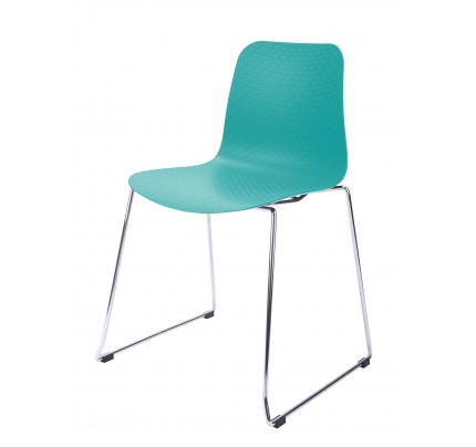 Hebe Turquoise Dining Shell Side Chair Molded Plastic Steel Metal Legs