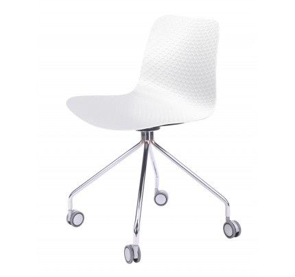 Series White Office Chair Molded Plastic Designer Task