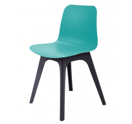 Ordinaire Hebe Series Turquoise Dining Shell Side Chair Molded Plastic Black Legs