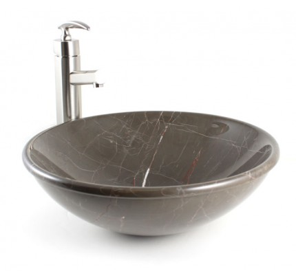 Emperador Marble Stone Undermount / Drop In / Countertop Bathroom Lavatory  Vessel Sink   16