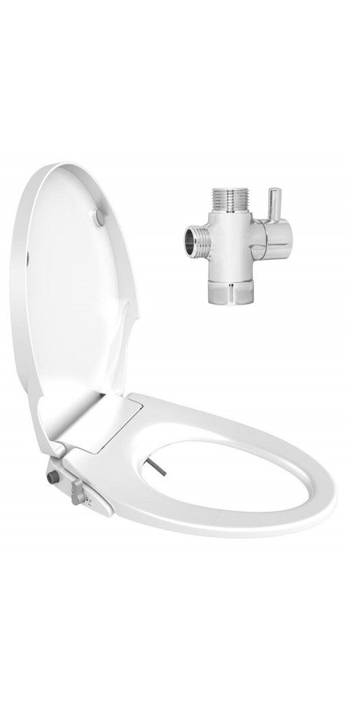 Slim Design Soft Close Dual Nozzles Non-Electric Bidet Seat for Elongated Toilets in White with On/Off Solid Brass T Adapter