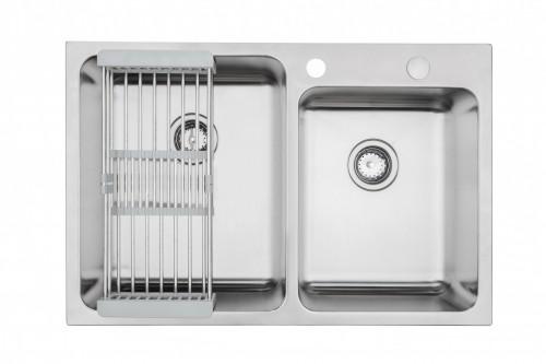 Ariel 33 Inch Offset Topmount / Drop-in Stainless Steel Sink, Large Bowl Capacity, True 18-Gauge Stainless Steel Bowl, Includes Adjustable Colander Basket & Strainers