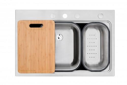 Ariel Workstation 33 Inch Drop-in Topmount 18 Gauge Single Bowl Stainless Steel Kitchen Sink w/ Integrated Ledge, Premium Accessories – Drain Basket, Colander, Cutting-board, Strainer