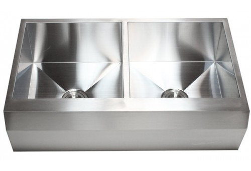 36 Inch Stainless Steel 50/50 Double Bowl Zero Radius Well Angled Design Farm Apron Kitchen Sink 16 Gauge