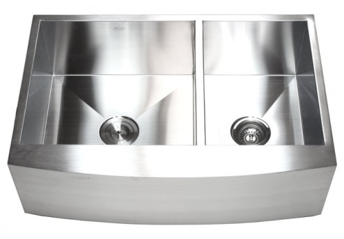 33 Inch Stainless Steel Curved Front Farm Apron 60/40 Double Bowl Kitchen Sink Zero Radius Design