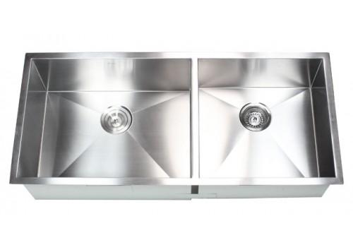 42 Inch Stainless Steel Undermount 60/40 Double Bowl Kitchen Sink Zero Radius Design