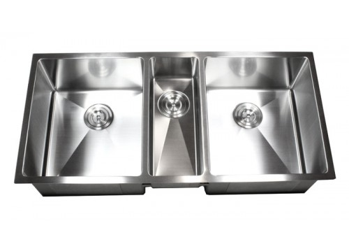 42 Inch Stainless Steel Undermount Triple Bowl Kitchen Sink 15mm Radius Design - 16 Gauge