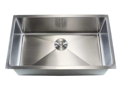 32 Inch Stainless Steel Undermount Single Bowl Kitchen Sink 15mm Radius Design - 16 Gauge