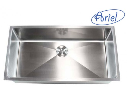 36 Inch Stainless Steel Undermount Single Bowl Kitchen Sink 15mm Radius Design - 16 Gauge