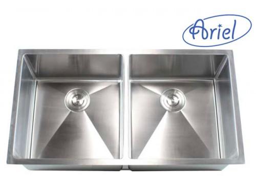 37 Inch Stainless Steel Undermount 50/50 Double Bowl Kitchen Sink 15mm Radius Design - 16 Gauge