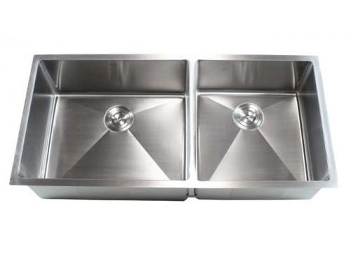 42 Inch Stainless Steel Undermount Double Bowl Kitchen Sink 15mm Radius Design - 16 Gauge