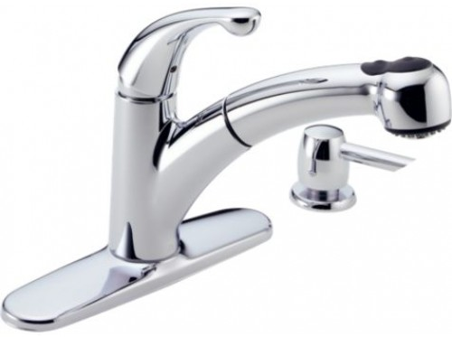 Delta Palo Lead Free Single Handle Design Pull Out Kitchen Faucet With Soap Dispenser