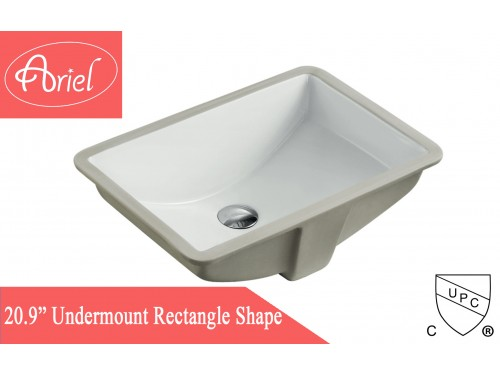 Rectangular White Porcelain Ceramic Vanity Undermount Bathroom Vessel Sink - 20-3/4 x 14-5/8 x 6-3/4 Inch