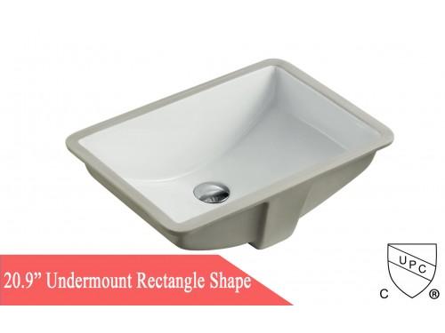 Rectangular White Porcelain Ceramic Vanity Undermount Bathroom Vessel Sink - 20-3/4 x 14-5/8 x 6-3/4 Inch