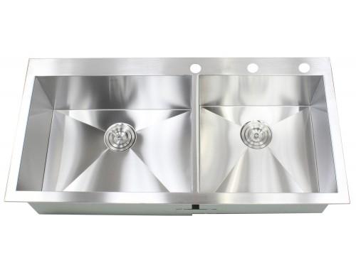 43 Inch Topmount / Drop-In Stainless Steel Double Bowl Kitchen Sink Zero Radius Design
