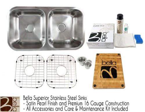 Bella 32 Inch Premium 16 Gauge Stainless Steel Undermount 50/50 Double Bowl Kitchen Sink with FREE ACCESSORIES