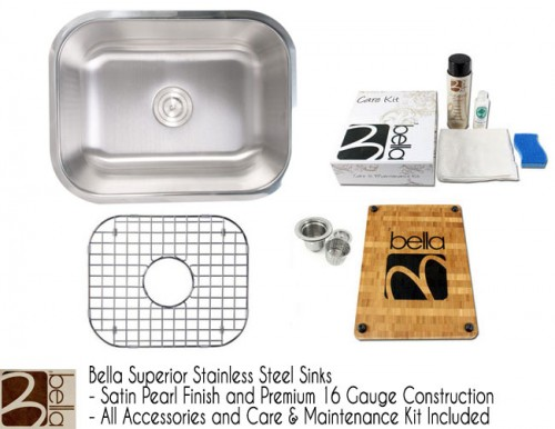 Bella 23 Inch Premium 16 Gauge Stainless Steel Undermount Single Bowl Kitchen Sink with FREE ACCESSORIES
