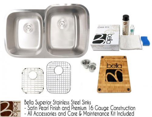 Bella 32 Inch Premium 16 Gauge Stainless Steel Undermount Double Bowl 40/60 Offset Kitchen Sink with FREE ACCESSORIES