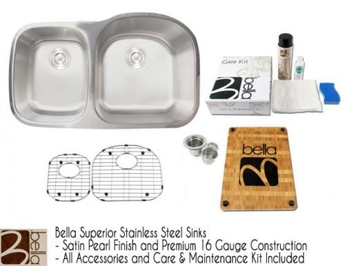 Bella 34 Inch Premium 16 Gauge Stainless Steel Undermount 40/60 D-Bowl Offset Kitchen Sink with FREE ACCESSORIES