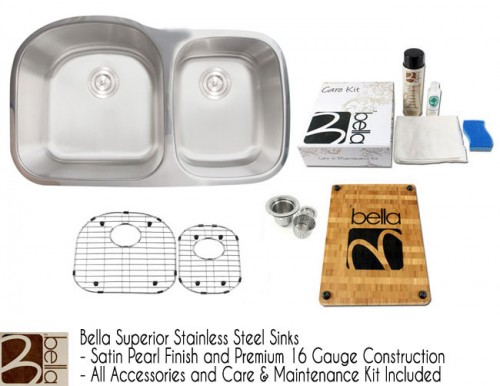 Bella 34 Inch Premium 16 Gauge Stainless Steel Undermount 60/40 D-Bowl Offset Kitchen Sink with FREE ACCESSORIES