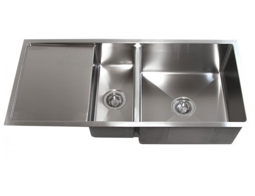 42 Inch Stainless Steel Undermount Double Bowl Kitchen Sink with Drain Board