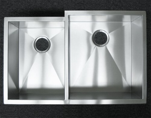 33 Inch Stainless Steel Undermount 40/60 Offset Double Bowl Kitchen Sink Zero Radius Design