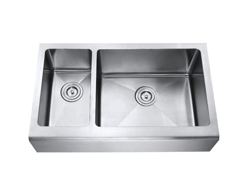 33 Inch Stainless Steel Smooth Flat Front Farm Apron Kitchen Sink 30/70 Double Bowl 15mm Radius Design