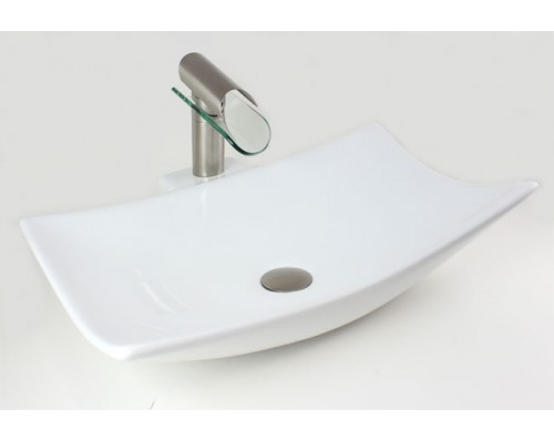 Porcelain Ceramic Single Hole Countertop Bathroom Vessel Sink - 23-1/4 x 16-1/8 x 5-7/8 Inch
