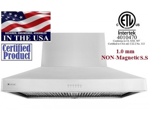 XtremeAIR 48 Inch Wall Mount Stainless Steel Range Hood DL08-W48 1600 CFM