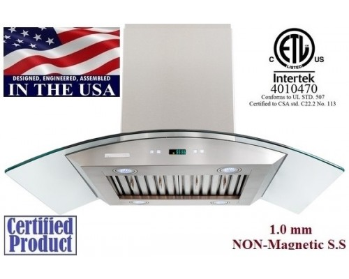 XtremeAIR 42 Inch Island Mount Stainless Steel Range Hood PX01-I42