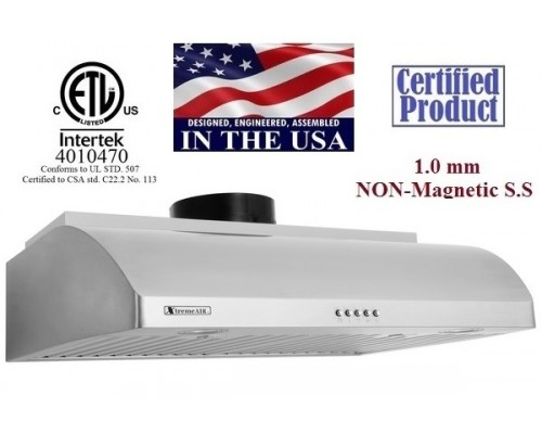 XtremeAIR 36 Inch Under Cabinet Stainless Steel Range Hood UL14-U36