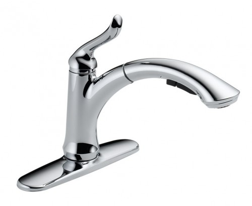Delta Linden Waterfall Lead Free Single Handle Pull Out Kitchen Faucet With Diamond Seal Technology