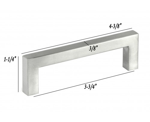 4-3/8 inch Stainless Steel Square Cabinet Bar Pull Handle in Brushed Nickel Finish (3-3/4 inch Hole to Hole Spacing)