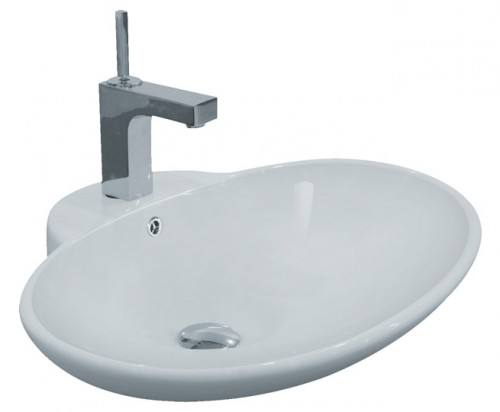 Porcelain Ceramic Single Hole Countertop Bathroom Vessel Sink - 24-3/4 x 19-1/4 x 8 Inch