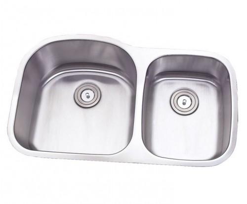 32 Inch Stainless Steel Undermount Double 60/40 D-Bowl Offset Kitchen Sink - 16 Gauge