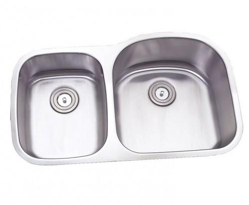 32 Inch Stainless Steel Undermount Double 40/60 D-Bowl Offset Kitchen Sink - 16 Gauge