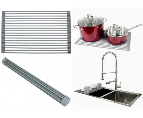 Over the Sink / Countertop Multipurpose Roll-Up Dish Drying Rack - Silicone Coated Stainless Steel - Flat Stripe Design - Dishwasher Safe, Heat Resistant, Trivet, Colander, Food Defrost