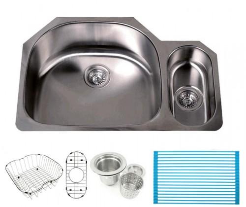 Pearl 32 Inch Premium 16 Gauge Stainless Steel Undermount 80/20 D-Bowl Offset Kitchen Sink with FREE ACCESSORIES