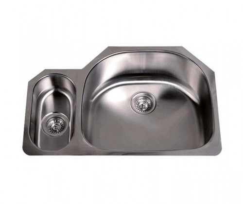 32 Inch Stainless Steel Undermount 20/80 Double D-Bowl Offset Kitchen Sink - 16 Gauge