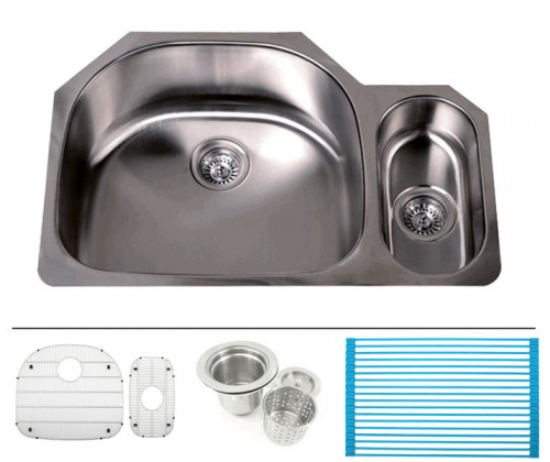 32 Inch Stainless Steel Undermount Double D-Bowl Offset Kitchen Sink - 16 Gauge FREE ACCESSORIES