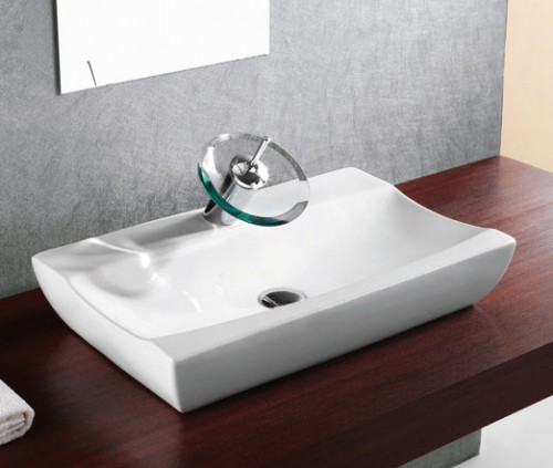Porcelain Ceramic Single Hole Countertop Bathroom Vessel Sink - 25 x 15-1/2 x 5-1/2 Inch