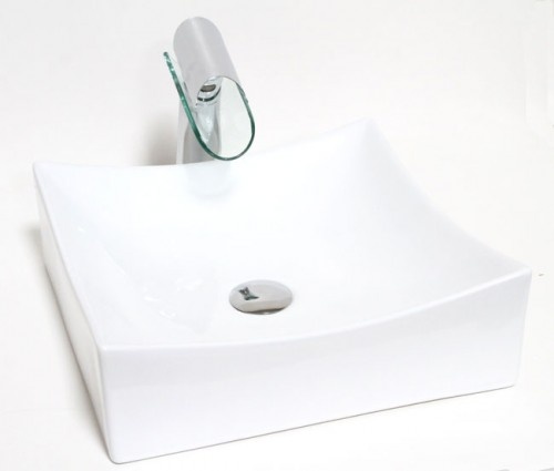 European Style Square Porcelain Ceramic Countertop Bathroom Vessel Sink - 15-1/2 x 15-1/2 x 5 Inch