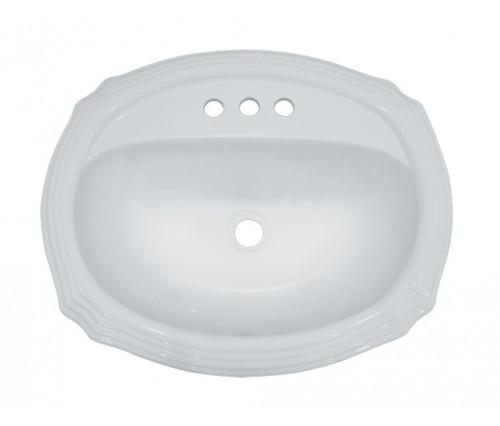 Porcelain Ceramic Vanity Drop In Bathroom Vessel Sink - 22-15/16 x 19-3/8 x 6-3/4 Inch