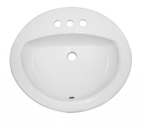 Porcelain Ceramic Vanity Drop In Bathroom Vessel Sink - 20-1/2 x 17-3/4 x 7-1/2 Inch