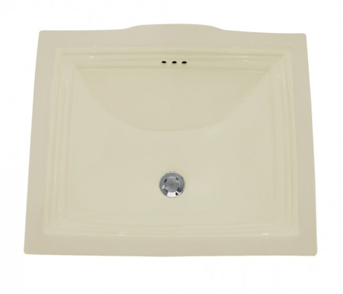 Rectangular Biscuit Porcelain Ceramic Vanity Undermount Bathroom Vessel Sink - 20-3/4 x 17-1/4 x 5-1/4 Inch