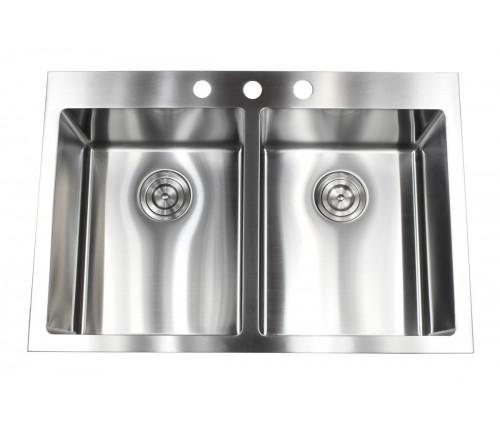 33 Inch Top-Mount / Drop-In Stainless Steel Double Bowl Kitchen Sink - 9 Gauge Deck & 16 Gauge Bowl