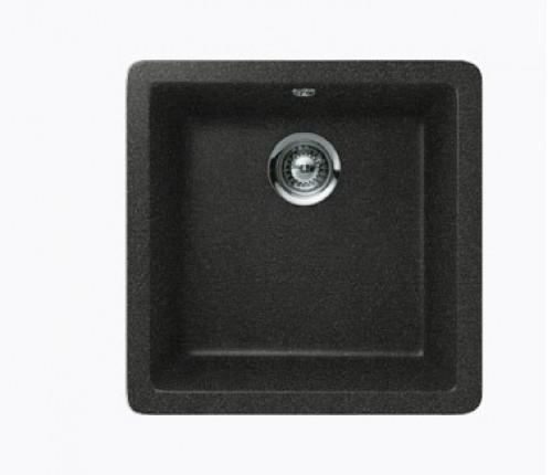 Black Quartz Composite Single Bowl Undermount / Drop In Kitchen Sink - 17-11/16 x 16-15/16 x 8 Inch