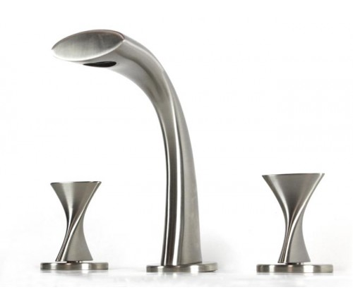 Twist Design Widespread Lead Free 3 Hole Bathroom Faucet Brushed Nickel Finish with Free Overflow Pop Up Drain