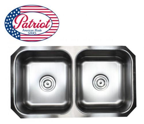 32 Inch Patriot Premium 18 Gauge Stainless Steel Undermount 50/50 Double Bowl Kitchen Sink