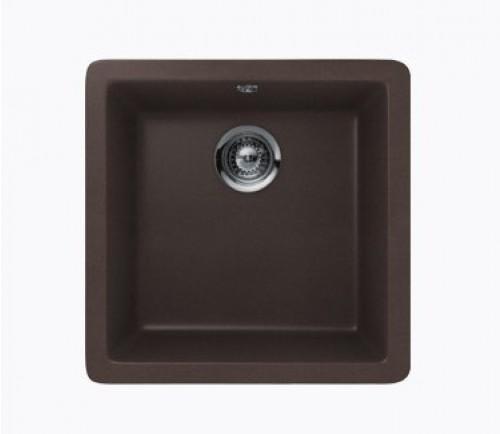 Mocha Quartz Composite Single Bowl Undermount / Drop In Kitchen Sink - 17-11/16 x 16-15/16 x 8 Inch
